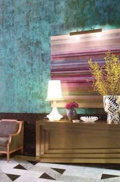 Incredible wall treatment featured in Kelly Wearstler's book, Hue.