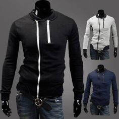 Men's Fashion Stand-collar Zip Slim Fit Thicken Fleece Hoodies
