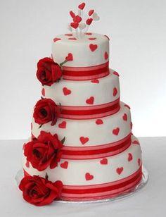 ツ Happy Birthday Images ツ: Birthday cake of 4 floors decorated with roses and hearts Beautiful Cake Pictures, Beautiful Cakes, Amazing Cakes, Fondant Cakes, Cupcake Cakes, Kreative Desserts, Buy Cake, Heart Cakes, Mothers Day Cake