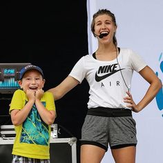 This little guy was so excited to meet @GenieBouchard!  #WorkoutWithUSANA