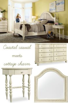 Coastal casual meets cottage charm in Sandcastle, a collection at home with its feet in the sand.  Woven sea grass and floral motifs mix with classic traditional forms like spindle legs for a look that blends cottage and coastal styles. A lightly distressed white finish adds relaxed vintage appeal, for a style that can be used throughout your beach-inspired home or in a guest bedroom for a warm, charming space.