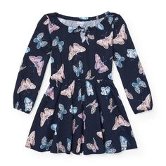 The Children's Place Baby Girls' Long Sleeve Butterfly Knit Dress