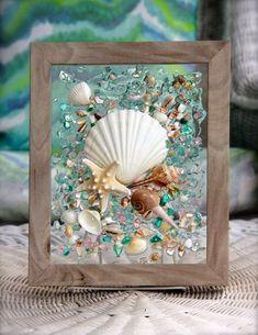 Beach Glass Art, Nautical Decor, Beach Decor for Bathroom, Coastal Decor Wall Ar. Sea Glass Crafts, Sea Glass Art, Glass Wall Art, Stained Glass Art, Resin Crafts, Wall Art Decor, Fused Glass, Seashell Art, Seashell Crafts