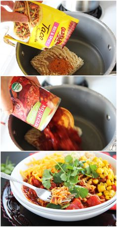 Taco Ramen; good idea but add hamburger!!! (maybe give a try)
