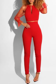 e7fbfcfc6d Lovely Stylish See-Through Red One-piece Jumpsuit(With  Elastic) Jumpsuit Jumpsuits LovelyWholesale