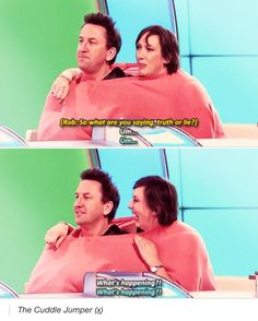 The would I lie to you cuddle jumper. Miranda Tv Show, Miranda Hart, Tv Funny, Funny Memes, Hilarious, British Humour, British Comedy, Comedy Tv, Comedy Show