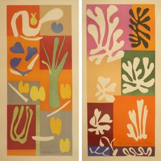 'Vegetables' and 'Snow Flowers' watercolor and gouche on cut and pasted paper by Matisse