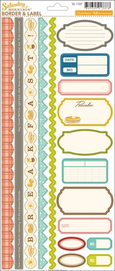 This listing is for: One new sheet of Saturday Mornings Border & Label Stickers by October Afternoon. Includes one 5 1/2x 13 sheet of stickers.