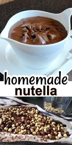 Homemade Nutella is a healthy dairy free chocolate spread that rivals the best on the market in a much better way. It's easy to make and tastes incredible. Smear it on toast, drizzle over desserts or my favorite, have some straight out of a jar with a spoon. #nutella #vegannutella #veganrecipes #veganchocolate #dairyfree #glutenfree #healthyrecipes