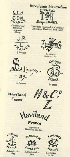 Porcelain marks limoges france list Marks
