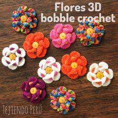 Flores 3D tejidas con bobble crochet! English subtitles: Bobble crochet 3D flowers! #crochet #flower #flor #diy