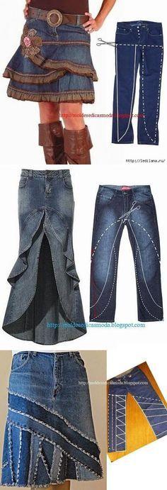 56 Ideas For Skirt Jean Diy Recycled Denim Skirt Fashion, Diy Fashion, Artisanats Denim, Denim Purse, Jean Diy, Sewing Jeans, Sewing Shorts, Sewing Clothes, Cut Up Shirts