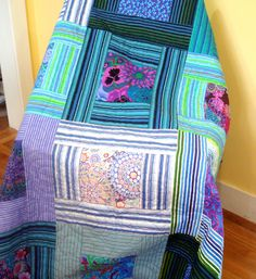 Double Quilt In Kaffe Fassett Fabrics Shades of Blue. by Uniquely Nancy at Etsy