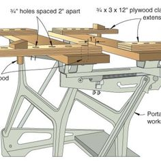 I discovered a simple way to make use of the space underneath my workbench top and behind the skirt without re-engineering the base for drawer boxes. Portable Workbench, Workbench Plans, Woodworking Workbench, Woodworking Workshop, Custom Woodworking, Woodworking Projects, Garage Workbench, Welding Projects, Wood Projects