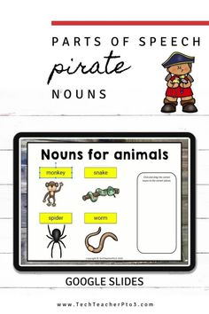 Go paperless and help your students to learn the parts of speech with these pirate noun activities. These Google Slides will guide your students through what a noun is and how they are used to help develop sentence structure and story plot. These slides are pirate themed and include drag and drop activities for your digital language arts lesson. #techteacherpto3 #googleslides #nouns #pirate Noun Activities, Types Of Nouns, Learning Cards, Simple Sentences, Sentence Structure, Parts Of Speech, Australian Curriculum, Pirate Theme, My Teacher