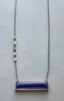 Jes MaHarry crafted this stunning, lapis and turquoise gemstone necklace with absolute grace.