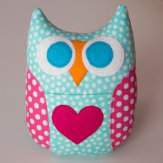 Personalized Owl Tooth Fairy Pillow - Aqua Blue with Hot Pink Wings. $10.00, via Etsy. for Adalyn