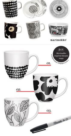Maiko Nagao - diy, craft, fashion + design blog: DIY: Marimekko inspired sharpie mugs: 350 F for 30 minutes, allow to cool in oven