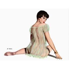 Pin Up Art Brunette With See Through Canvas Art - (36 x 54)