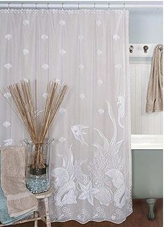 Window & Door Treatments               Fabulous lace window treatments and shower curtains with shell, sea life and lighthouse designs! And all under fifty dollars.    An affordable way to give your home a new coastal look!     Curtain styles include valances, swags, tiers and panels. Shower curtains are also available in some of these great coastal designs.