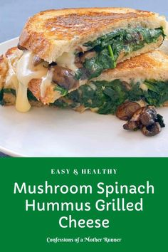 Evreything you love about grilled cheese but better. This mushroom spinach hummus grilled cheese will elevate your at home lunches healthy, easy, vegetarian Healthy Sandwich Recipes, Healthy Recipes On A Budget, Healthy Sandwiches, Veggie Recipes, Lunch Recipes, Sandwich Ideas, Drink Recipes, Yummy Recipes, Dinner Recipes