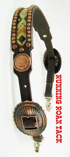 NEW FOR 2015! Aztec Tribal Inlaid Wither Strap with Copper Indian Chief Conchos by Running Roan Tack