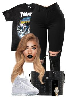 """Top Off"" by chiamaka-ikaraoha ❤ liked on Polyvore featuring MCM, Lime Crime, NIKE and Rolex"