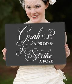 Grab a Prop and Strike a Pose Vinyl Decal Lettering, Photo Booth DIY wedding Sign word stickers, Decorative Letters. $17.00, via Etsy.