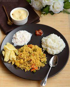 Lunch menu number 50 with veg biryani, curd rice, rasmalai for dessert!