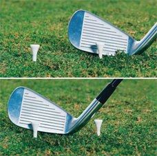 Tee drill: Set two tees a clubhead apart, and address the inside tee. To hit the outside tee, you must extend your arms.