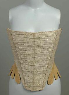 Massachusetts or New York Stays, 1740-60. Silk moiré, linen, silk tape, whalebone. From MFA Boston: 44.347