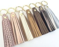 Leather tassel keychain.Leather key fob.Leather by PulpoCreations