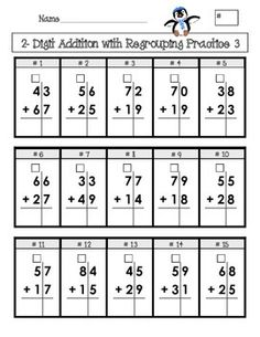 """Created for elementary age students, this is 4 pages of addition and subtraction problems set up in a grid with boxes for """"regrouping""""/""""carrying""""/""""borrowing."""" The grid format helps students keep their columns lined up, and the boxes will aid them in remembering to """"carry"""" or """"borrow"""" tens."""