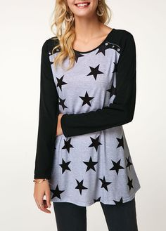 Raglan Sleeve Star Print Eyelet Detail T Shirt Star Clothing, Clothing Styles, Cool Outfits, Fashion Outfits, Womens Fashion, Trendy Tops For Women, Pinterest Fashion, Black Button, Star Print