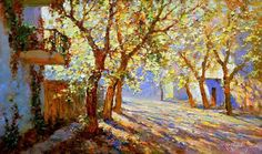 Obukhovsky Yuri Yuri Obukhovskiy A sunny October Landscape Art, Landscape Paintings, Oil Paintings, Landscapes, Russian Painting, Impressionism, Les Oeuvres, Sunlight, Yuri