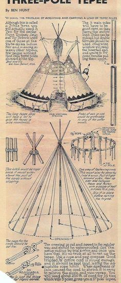 Three Pole Tepee Construction #Survival #Preppers #bushcraftskillsnativeamerican