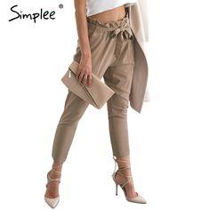 Simplee Vêtements OL mousseline de soie taille haute harem pantalon Femmes stringyselvedge summer style casual femmes 2016 Nouveaux pantalons pantalon noir