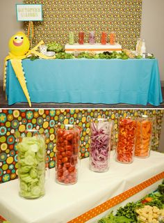 "I also had two stations for our guests to enjoy: a salad bar which was appropriately referred to as the ""Octopus's Garden"" and of course an ""ALL YOU NEED IS LOVE AND SWEETS"" station. We incorporated many Beatles references such as ""Strawberry Fields Forever"" sugar cookies, Marmalade Skies Jam (I saved baby food jars for this one!), Apple Records (which was The Beatles record label), Marshmallow Pies, and ""Yellow Submarines"" made from Twinkies, Dot Candy and straws."""