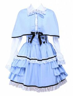 M4U Womens Blue White Cotton Long Sleeves Ruffled Cape Lolita Outfit M4U Online Shopping to see or buy click on Amazon here http://www.amazon.com/dp/B00K4T5MW8/ref=cm_sw_r_pi_dp_DF-Ltb05N9KG8AWA