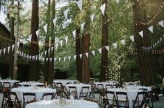 white flags wedding reception decorations