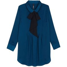 Melissa Mccarthy Seven7 Plus Bow Tie Blouse ($89) ❤ liked on Polyvore featuring plus size fashion, plus size clothing, plus size tops, plus size blouses, tops, plus size, teal blue, long sleeve blouse, blue top and pintuck blouse