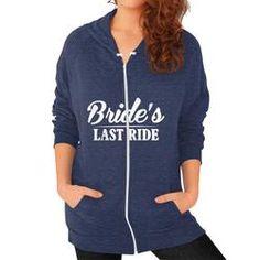 Bride's Last Ride Bachelorette Party Zip Hoodie (Color-Tri-Blend Navy)