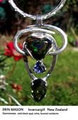 Soul Necklace for Erin Mason - solid black opal, iolite, faceted moldavite.