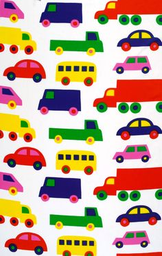 Merimekko bo boo. I had something very similar in my room as a child (mine was animals on wheels instead of cars). Would love to make it into a pillow etc.