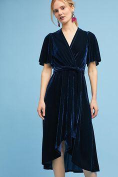 Slide View: 2: Velvet Wrap Midi Dress