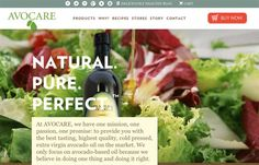 """Avocare Avocado Oil - I've been actually eating healthier this new year, and keeping in tune with foods and products that fit into more of a """"Paleo"""" lifestyle. Avocare Avocado Oil fits that for me (healthy fat) – must learn more about it for personal use. Professionally, I'm looking at the site for design and business choices – and I like it. Food related sites should be vibrant in both the color choices and imagery, in order to fire the synapses in your brain that make you hungry."""