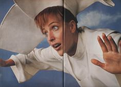 Gillian Anderson as The Flying Nun. Photographed by Mark Seliger for US magazine (october 1997).