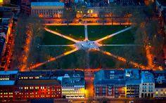 Bristol, Queen Square at night.
