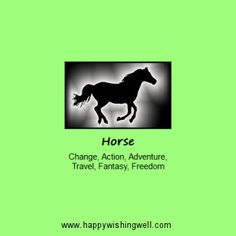 Spirit of Horse, a link to info and facts about the Horse animal spirit guide or totem, and the meaning of the Horse in nature myth and spirituality. http://www.happywishingwell.com/madamhelga/horse.html