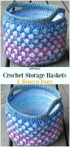 Crochet Moroccan Basket Free Pattern - Storage #Basket; Free #Crochet; Patterns